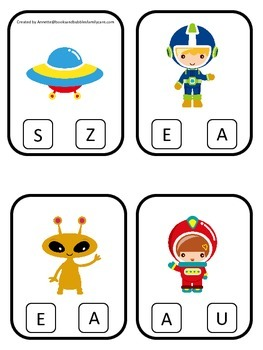 Space themed Beginning Sounds preschool learning game.  Daycare curriculum game.