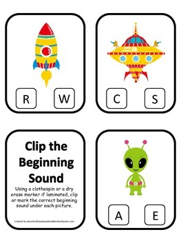 Space themed Beginning Sounds preschool learning game.  Da