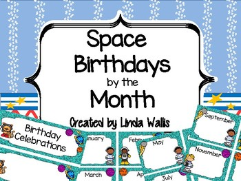 Space-themed Birthdays by the Month Chart