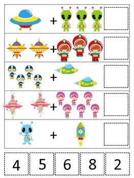 Space themed Math Addition preschool printable game.  Daycare curriculum activit