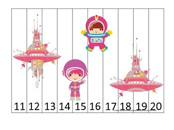 Space themed Number Sequence Puzzle 11-20 preschool learning activity