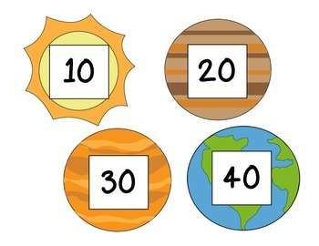 Space-themed Numbers 1-100 + 100s to 1000