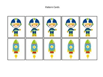Space themed Pattern Cards #1 preschool printable activity.  Daycare curriculum.