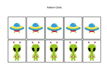 Space themed Pattern Cards #2 preschool printable activity.  Daycare curriculum.