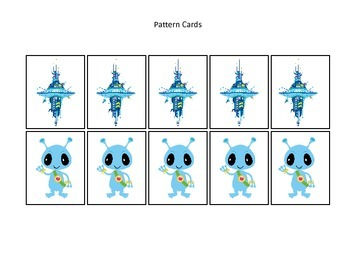 Space themed Pattern Cards #4 preschool printable activity.  Daycare curriculum.
