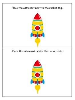Space themed Positional Cards preschool learning game.  Daycare game.