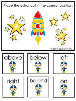 Space themed Positional Game.  Printable Preschool Curriculum Game