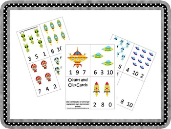 Space themed daycare and child care preschool printable curriculum games.