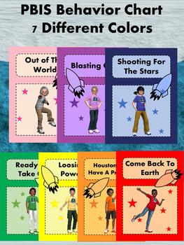 Space Theme Classroom Expectations Posters & PBIS Behavior Clip Chart