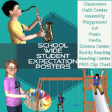 Space Theme Classroom Expectations Posters & PBIS Behavior