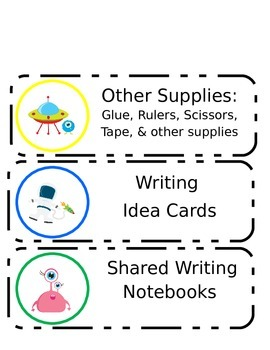 Spaced Themed Writing Organization Labels