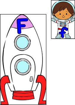 Spaceman and Rocket Letter Matching Game