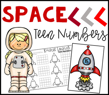 Spaceship Teen Number Ten Frames Math Center