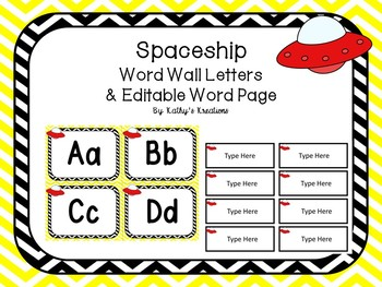 Spaceship Word Wall & Editable Word Page