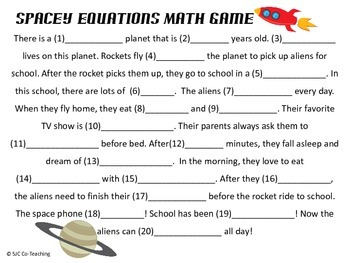 Spacey Equations Math Word Game