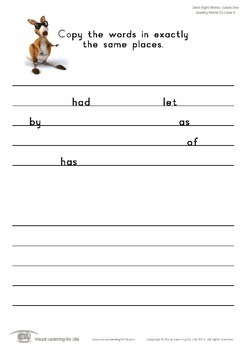 Spacing Words on Lines (1st Grade)