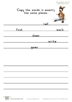 Spacing Words on Lines (2nd Grade)