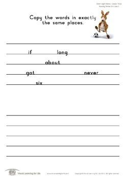 Spacing Words on Lines (3rd Grade)