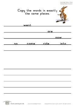 Spacing Words on Lines (Kindergarten)