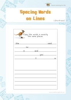 Spacing Words on Lines (Pre-K)