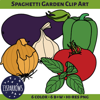 Spaghetti Garden Vegetables Clip Art