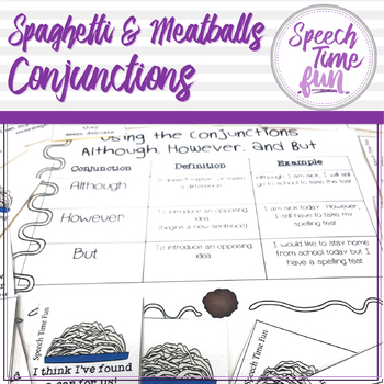 spaghetti and meatball conjunctions by speech time fun tpt. Black Bedroom Furniture Sets. Home Design Ideas