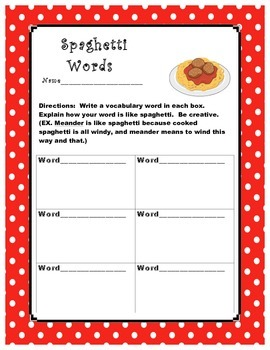 Spaghetti Words Vocabulary Word Practice