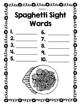 Spaghetti and Meatball Sight Word Center