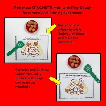 Spaghetti and Meatball Speech and Language Game Companion and Dough Mats