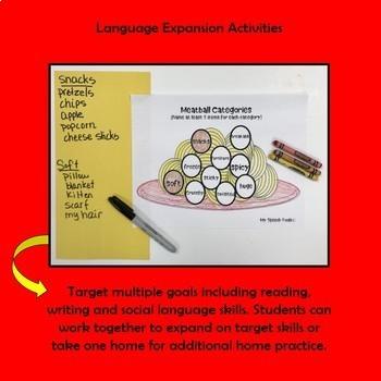 Spaghetti and Meatball Speech and Language Game Companion and Dough Mats
