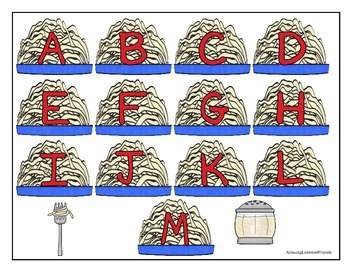 Spaghetti and Meatballs Alphabet Matching File Folder Game