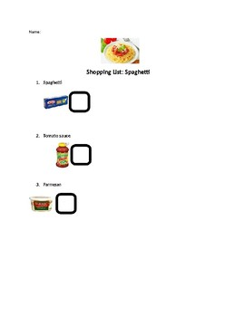 Spaghetti shopping list and recipe