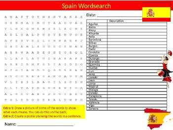 Spain #1 Wordsearch & Anagrams Puzzle Sheet Keywords Country Geography