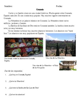 Spain: 3 Short Reading Passages and Comprehension Questions Spanish I