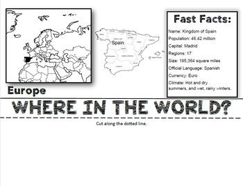 Spain Flip Book: A Social Studies Interactive Activity for Grades 3-5