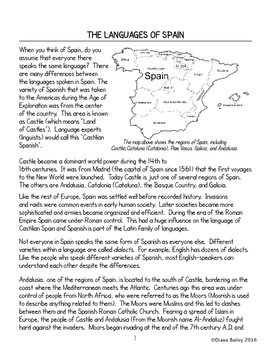 Spain Languages of Spain Informational Texts Vocabulary Activities