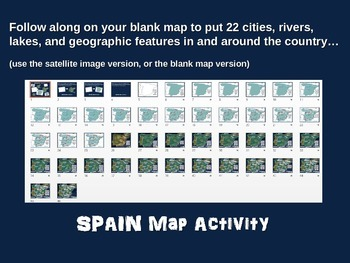 Spain Map Activity- fun, engaging, follow-along 24-slide PPT