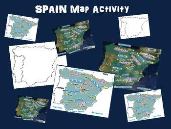 Spain Map Activity- fun, engaging, follow-along 24-slide PPT