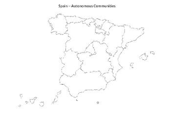 Spain Map   Autonomous Communities Black & White by MrFitz | TpT