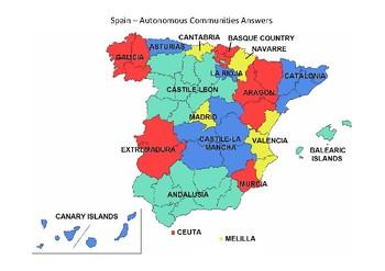 Spain Map - Autonomous Communities Black & White