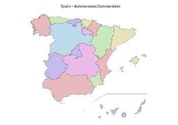 Spain Map - Autonomous Communities Colour