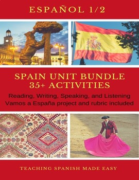 Span 1+35 + Activities Spain-Reading, Inquiry based, Brochure Project/Rubric