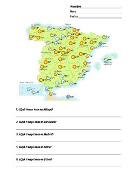 Spanish Spain Weather Map Worksheet (Tiempo en España)
