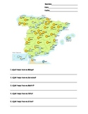 Spanish Spain Weather Map Worksheet (Tiempo en España)