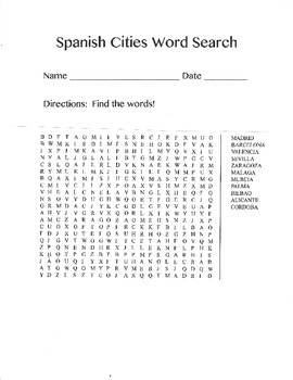 Spain Word Search (Major Cities)