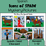Spain and Spanish Icons, Color By Number / Grid / Spanish