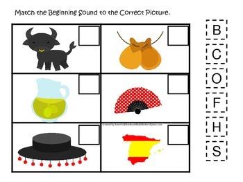 Spain themed Match the Beginning Sound preschool learning