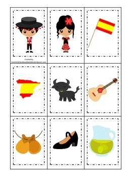 Spain themed Memory Matching preschool learning game.  Daycare.