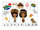 South Africa themed Number Sequence Puzzle preschool learning game.  Daycare.