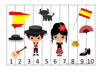 Spain themed Number Sequence Puzzle preschool learning game.  Daycare.